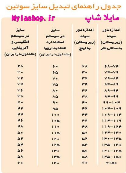 جدول تبدیل سایز سوتین